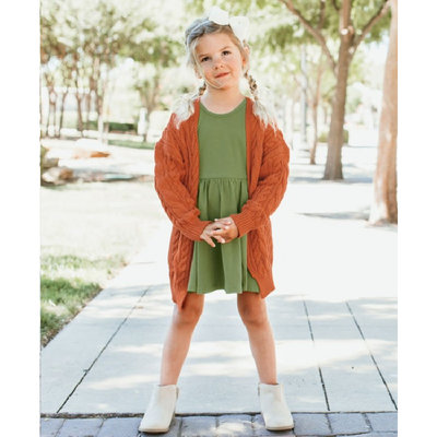RuffleButts Moss Green Twirl Dress