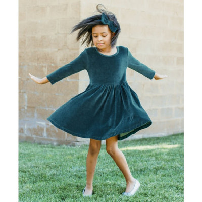RuffleButts Ethereal Blue Velour Twirl Dress