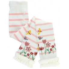 RuffleButts Pink & Ivory Stripe Floral Footless Tights