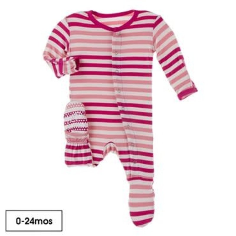 KicKee Pants Kickee Pants | Forest Fruit Stripe Ruffle Footie