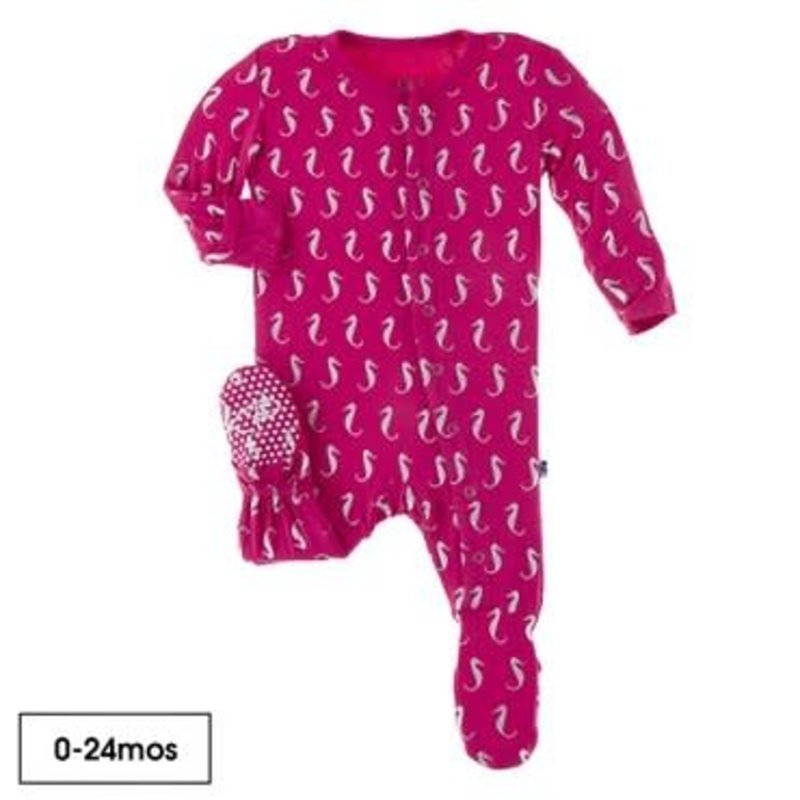 KicKee Pants Kickee Pants | Prickly Pear Mini Seahorses Ruffle Footie