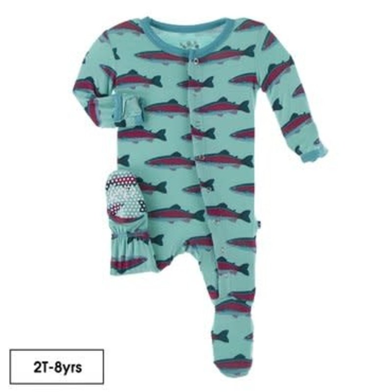 KicKee Pants Kickee Pants | Glass Rainbow Trout Ruffle Footie