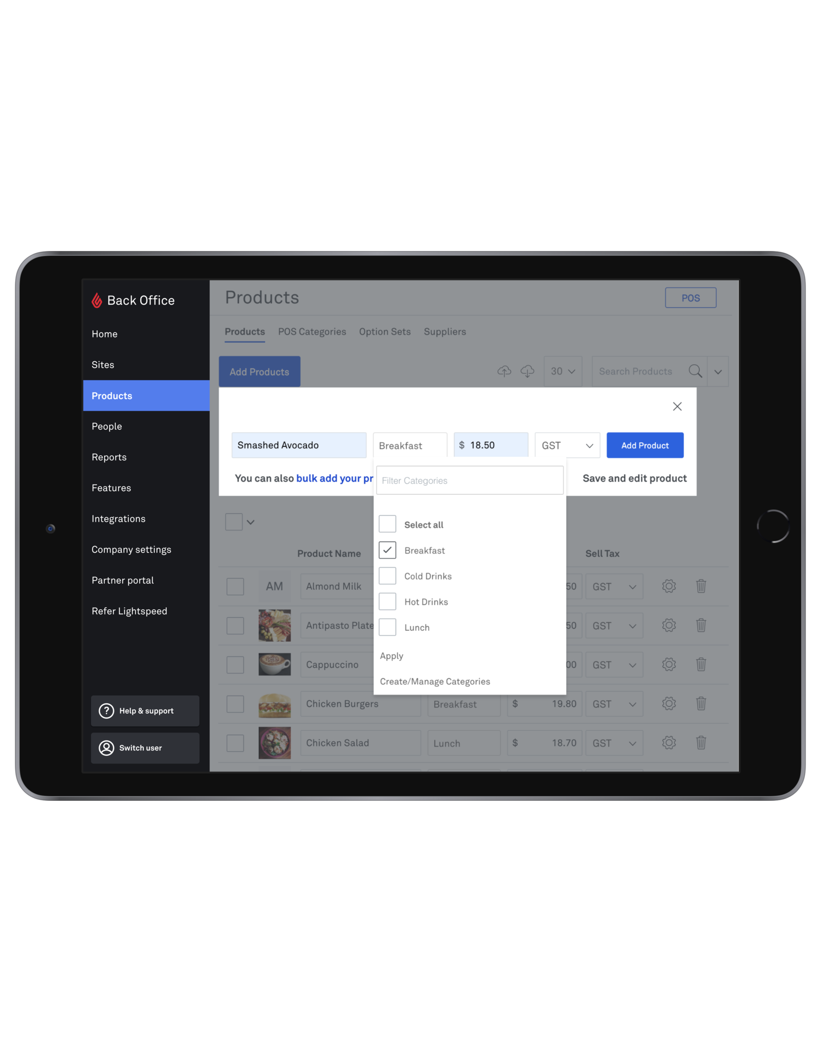 Service - Building a Menu with up to 1,000 Products