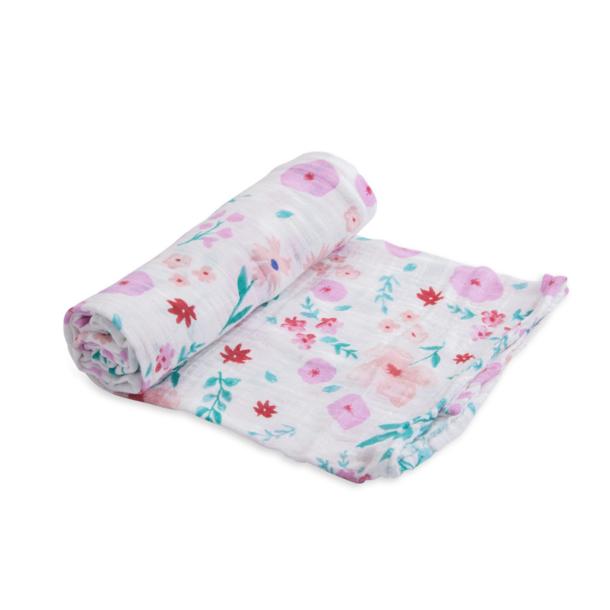 Little Unicorn Little Unicorn Swaddle Single: Pinks/Purples/Flowers