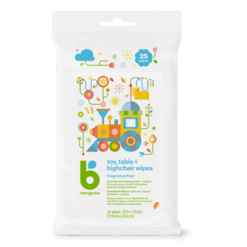 BabyGanics Toy Table & Highchair Wipes - 25ct