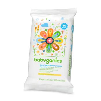 BabyGanics Face Hand & Baby Wipes - 40ct