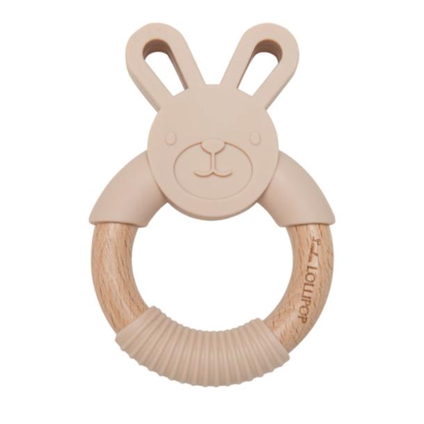 Lou Lou Lollipop Bunny Wood/Silicone Teether