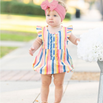 Rufflebutts Playful Stripe Ruffle Placket Bubble Romper