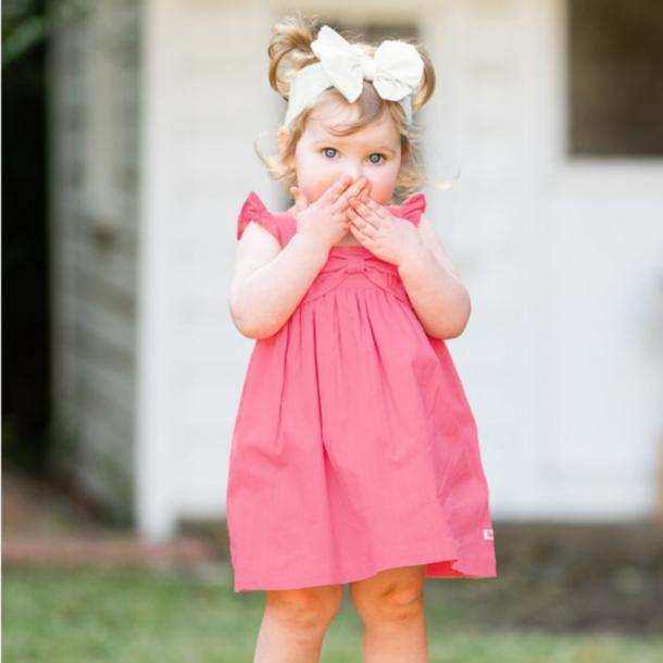 Rufflebutts Rose Slub Flutter Bow Dress