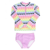 Rufflebutts Girl's 2pc LS Rash Guard Bikini