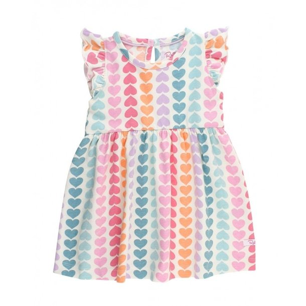 Rufflebutts Rainbow Hearts Flutter Dress