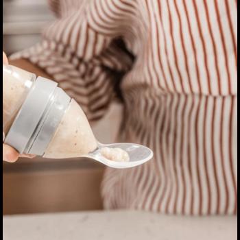 Haakaa Silicone Food Dispensing Spoon w/ Cap - Grey