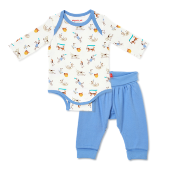 Magnificent Baby Magnetic Me: Magnetic Bodysuit & Harem Pant - Howlarious (Organic)