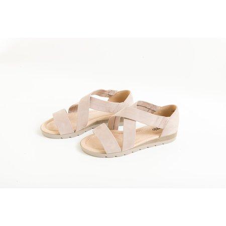 Blush Suede Crossover Sandal