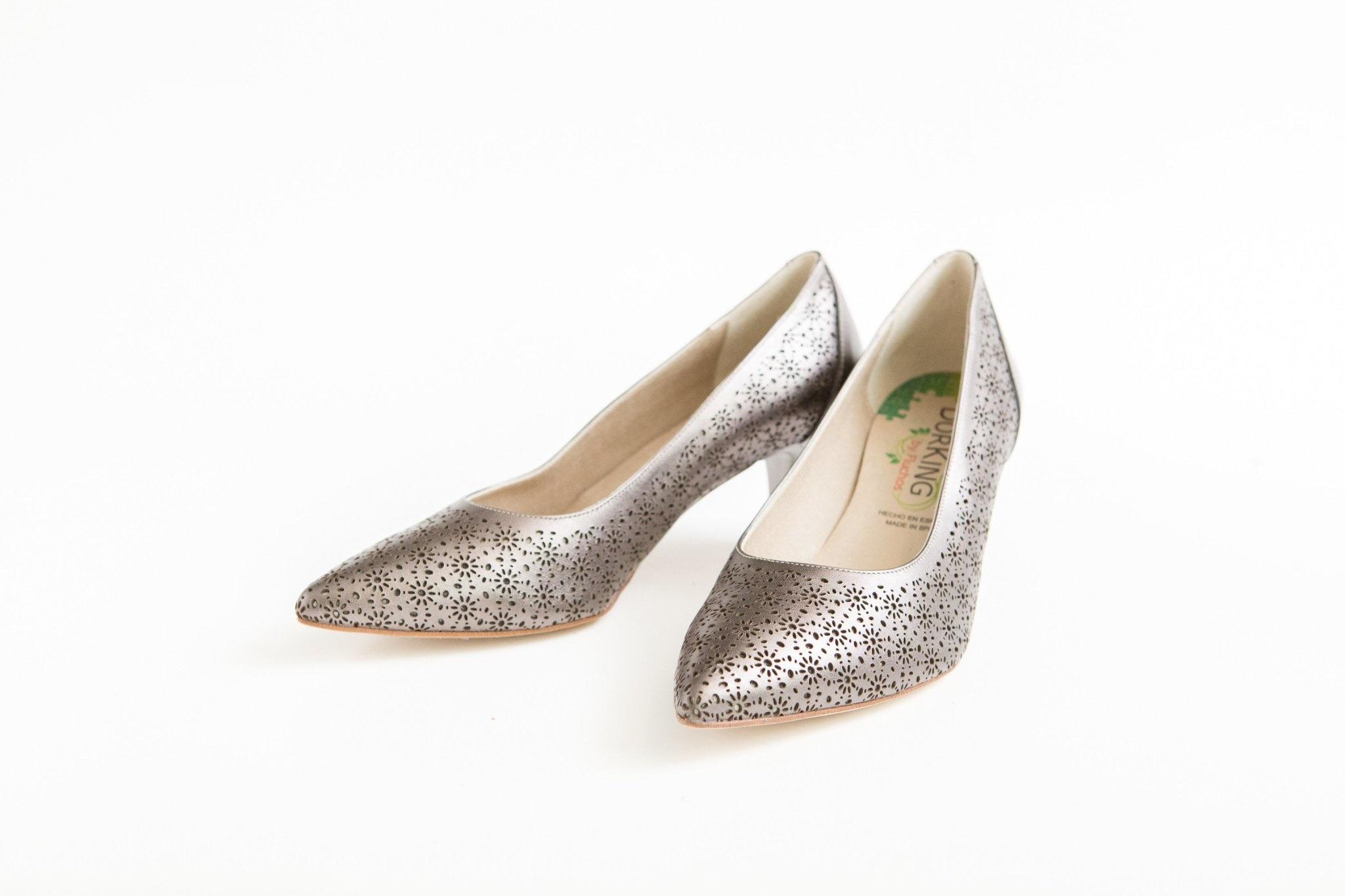 Metallic Perforated Kitten Heel