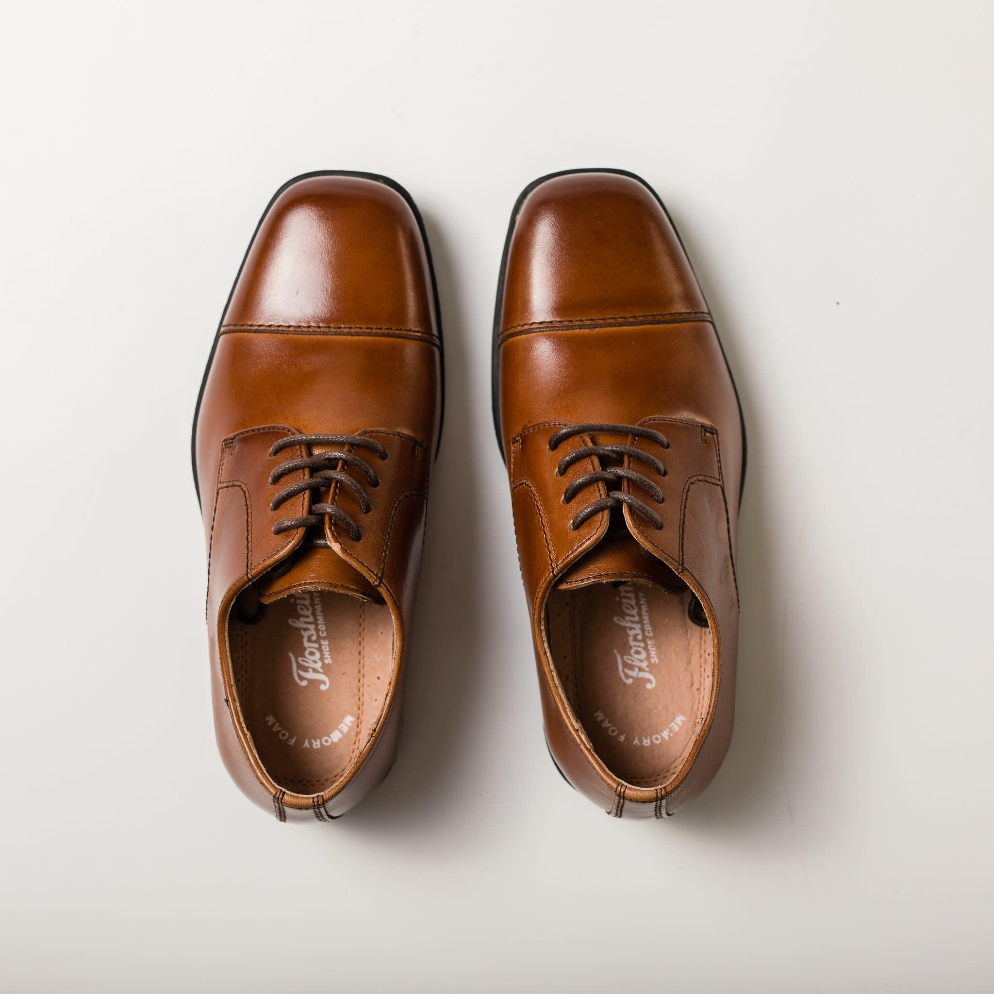 Boys Simple Lace Up Dress Shoe - Cognac