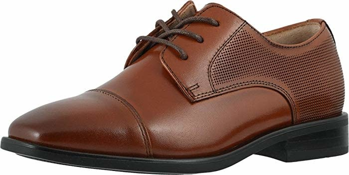Boys Lace Up Dress Shoe with Perforated Detail