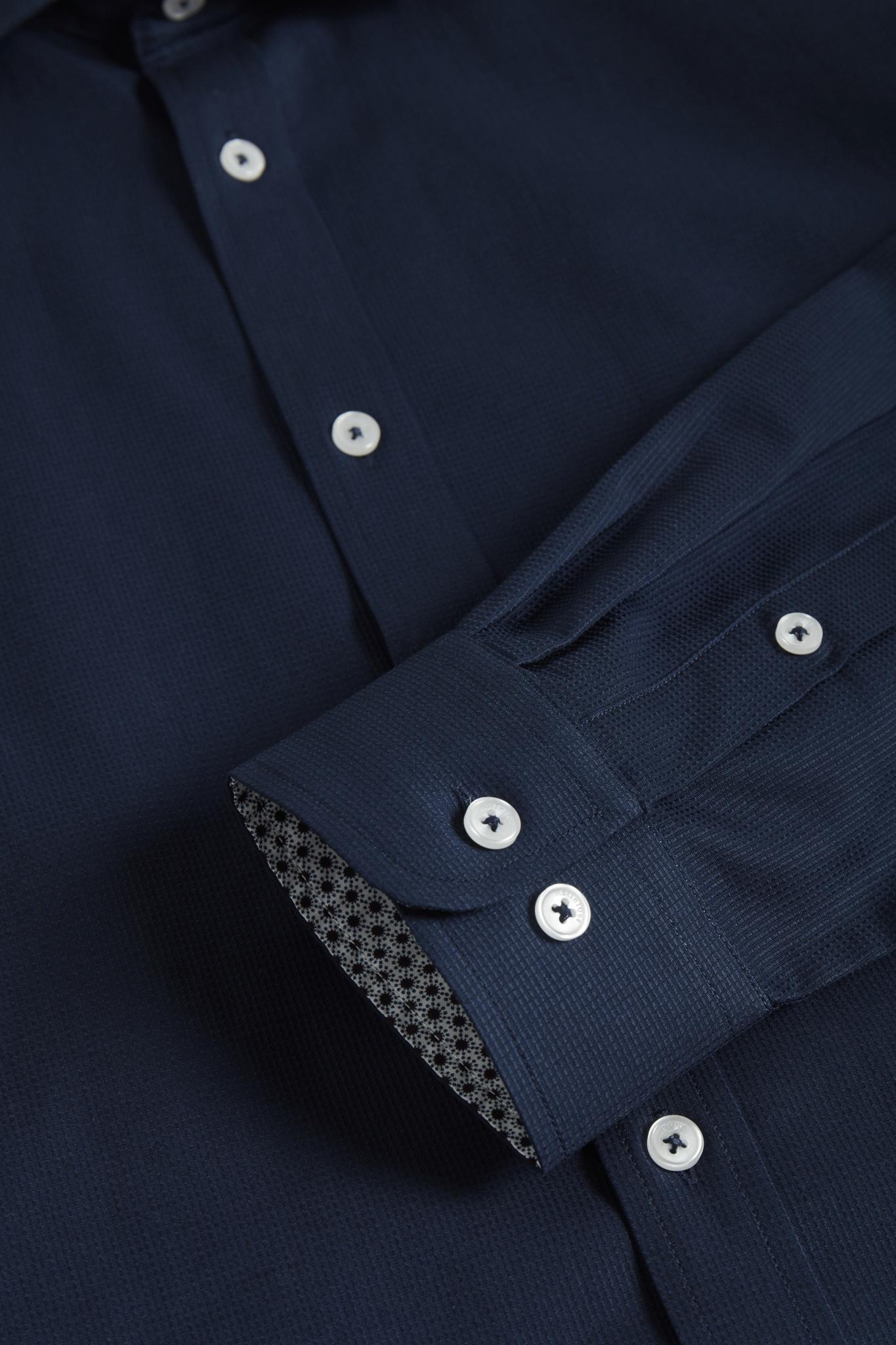 Navy Textured Dress Shirt