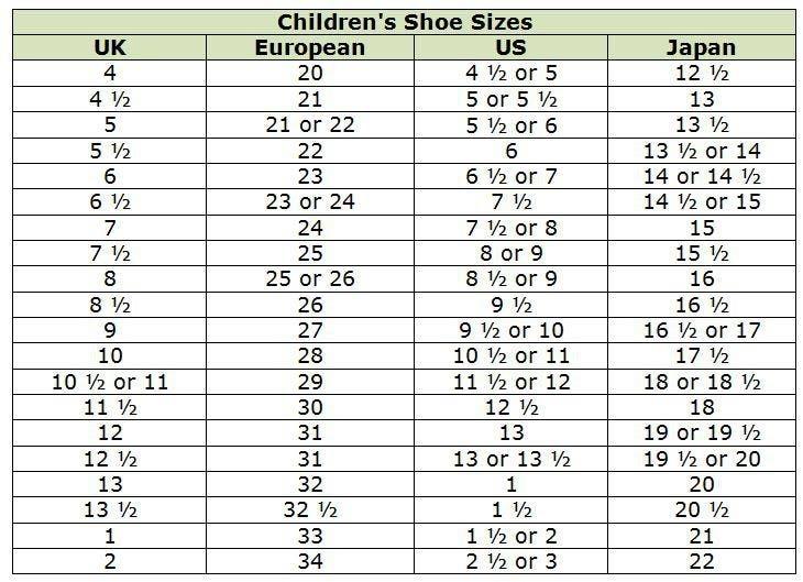Childrens Shoe Size Chart