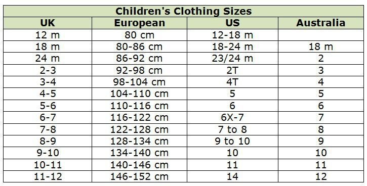 Childrens Clothing Size Chart