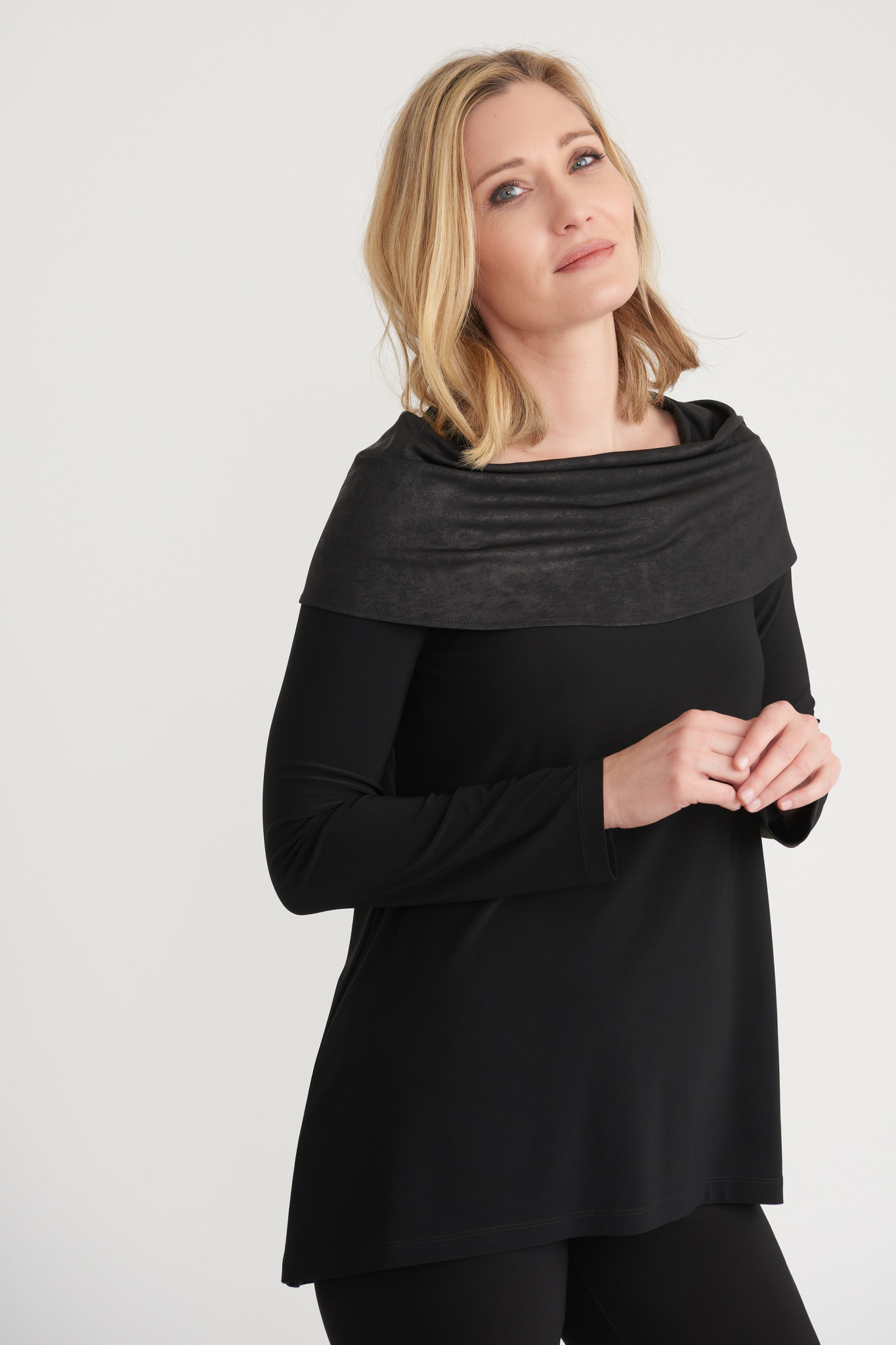 Top with Faux Leather Drape Collar