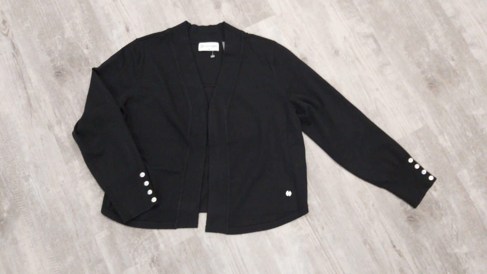 Shorter Knit Cardigan with Button Detail - Black