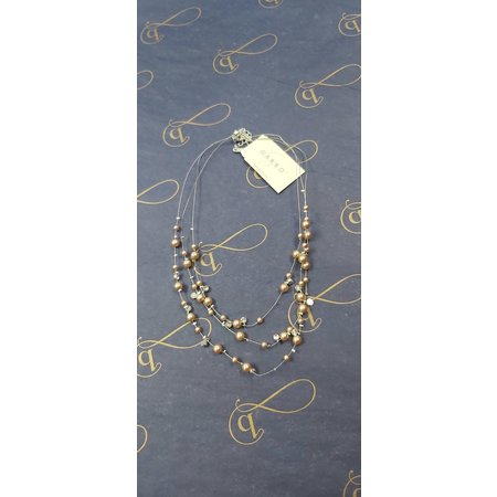 3-Row Rose Pearl Illusion Necklace