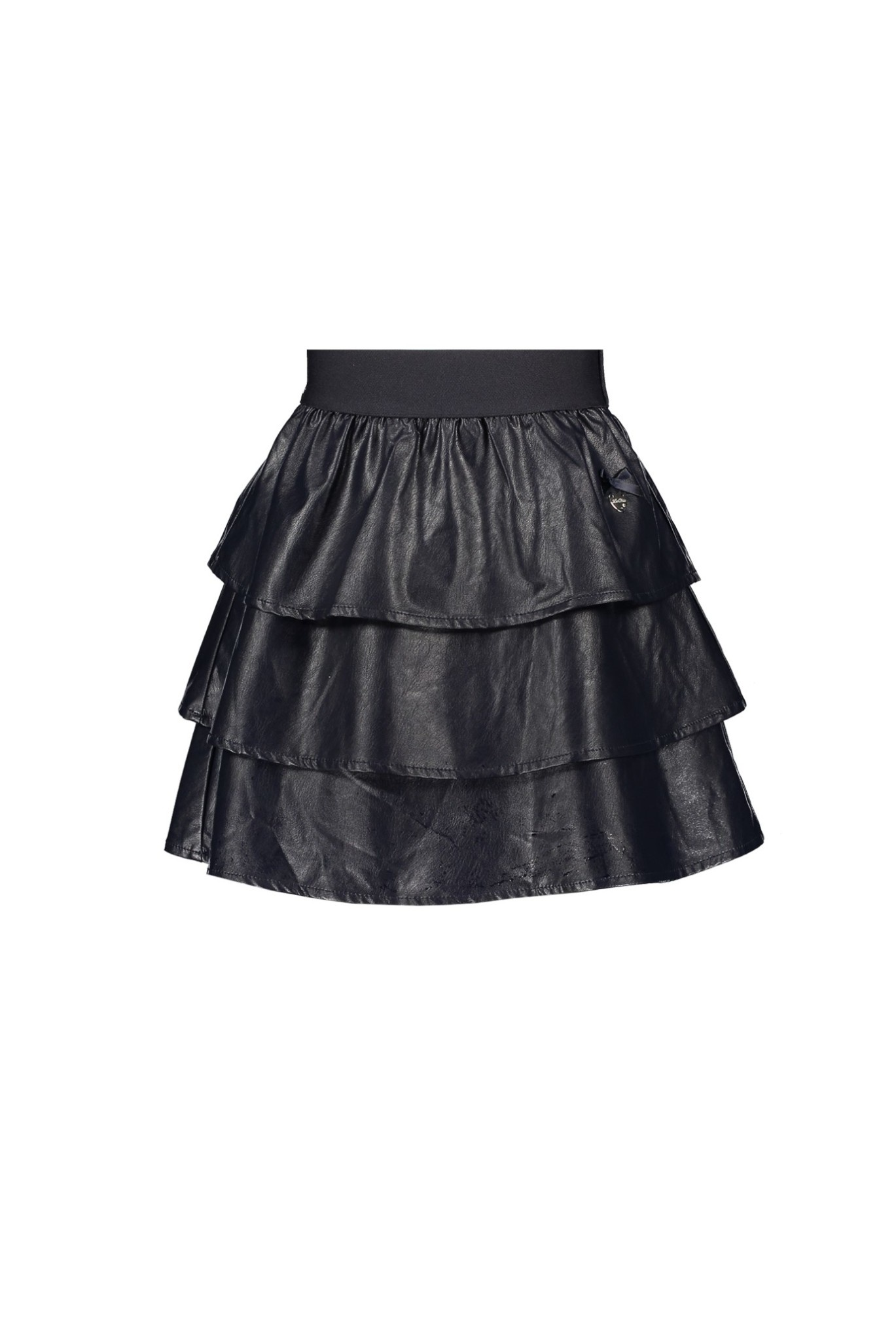 Navy Faux Leather Tiered Skirt