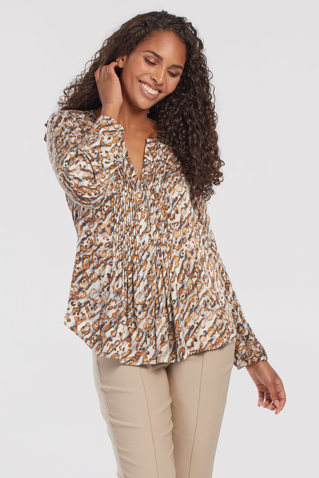 Long Sleeved Blouse with Pleats