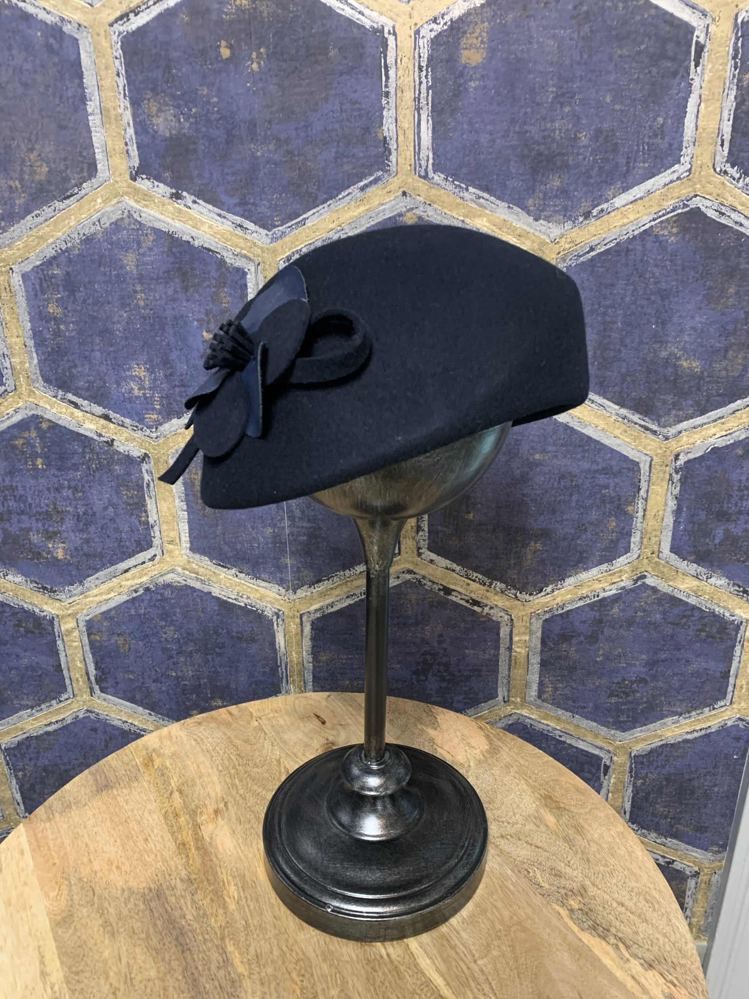 Navy Large Rounded Pillbox with Flower Accent