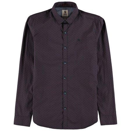 Navy & Burgundy Print Dress Shirt