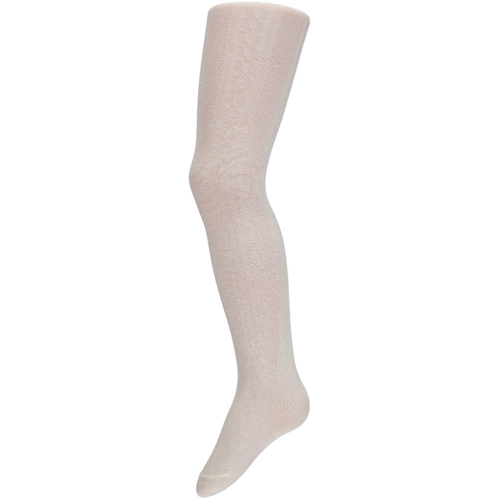 Cable Knit Cotton Baby Tights - White