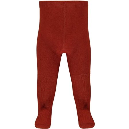 Cable Knit Cotton Baby Tights - Burnt Orange