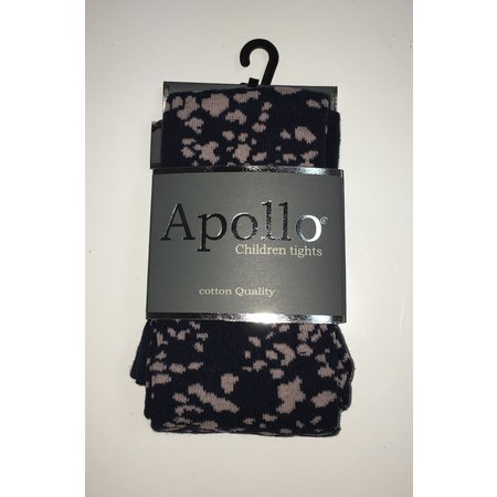 Cotton Tights - Speckle Print - Navy/Pink
