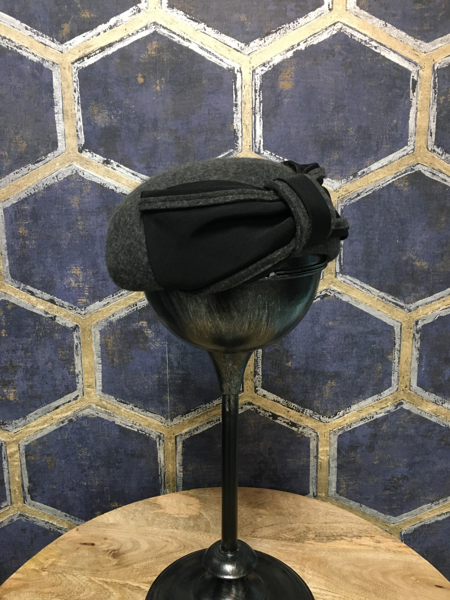 Charcoal Pillbox with Woven Bow