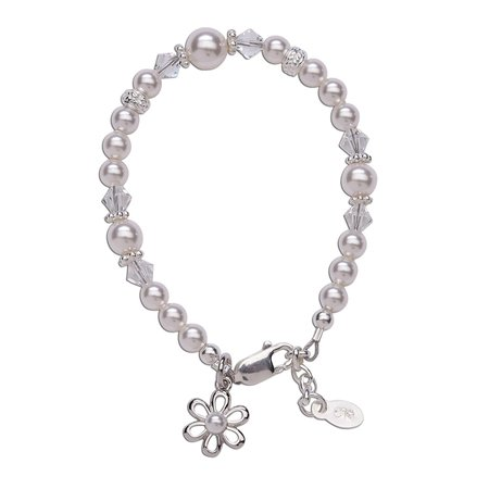 Lila Bracelet - Sterling Silver with Pearls & Daisy Charm