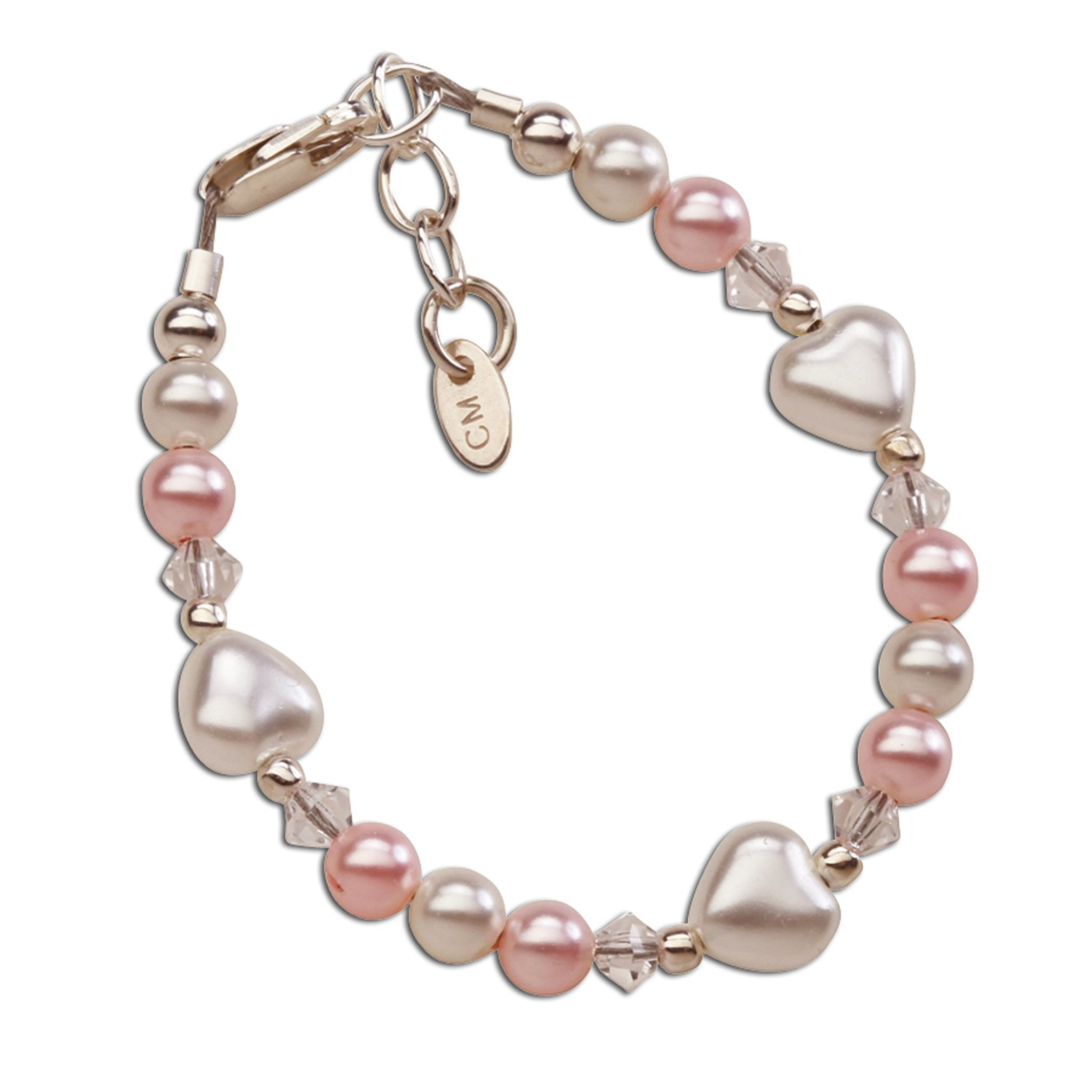Sweetheart Bracelet - Sterling Silver with Pearl Hearts
