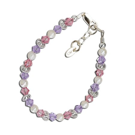 Natalee Bracelet - Silver with Pearl & Colored Crystals