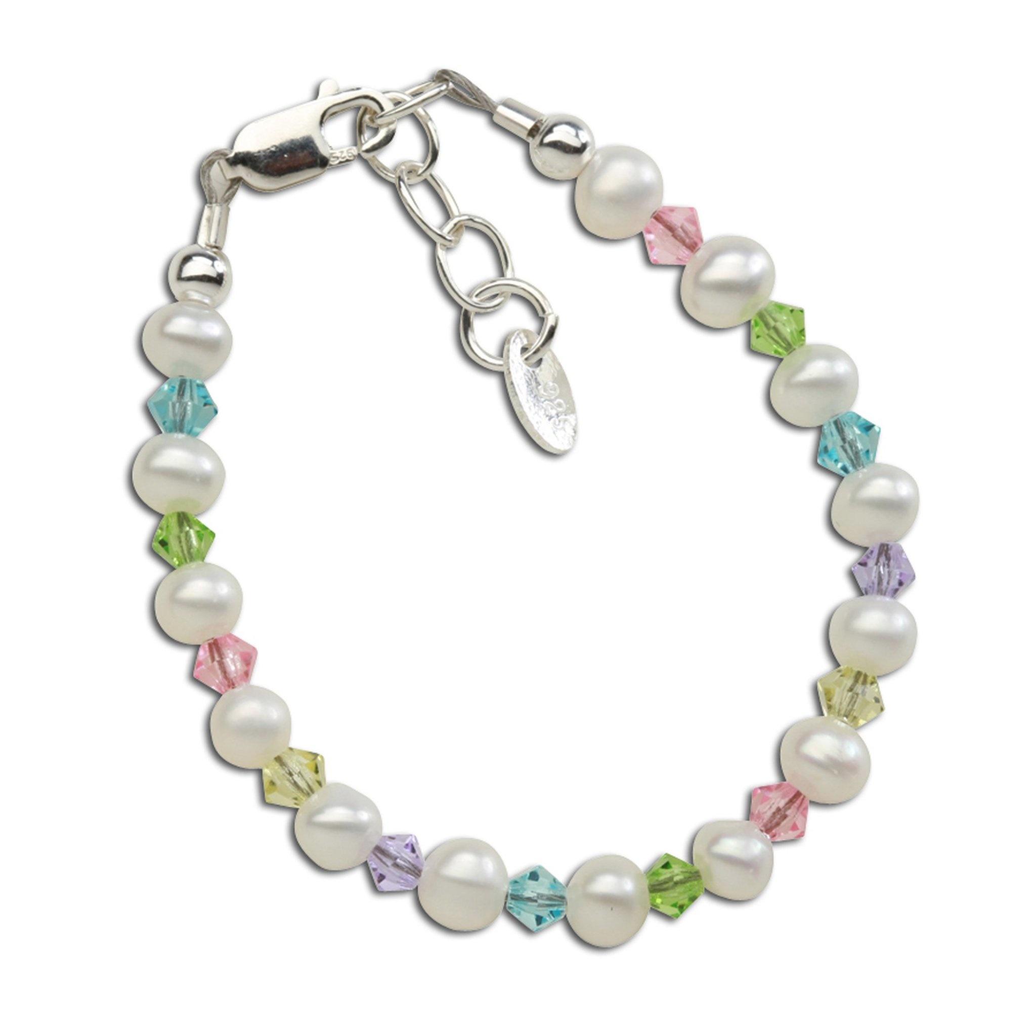 Daniela Bracelet - Silver Pearl Bracelet with Multi Crystals