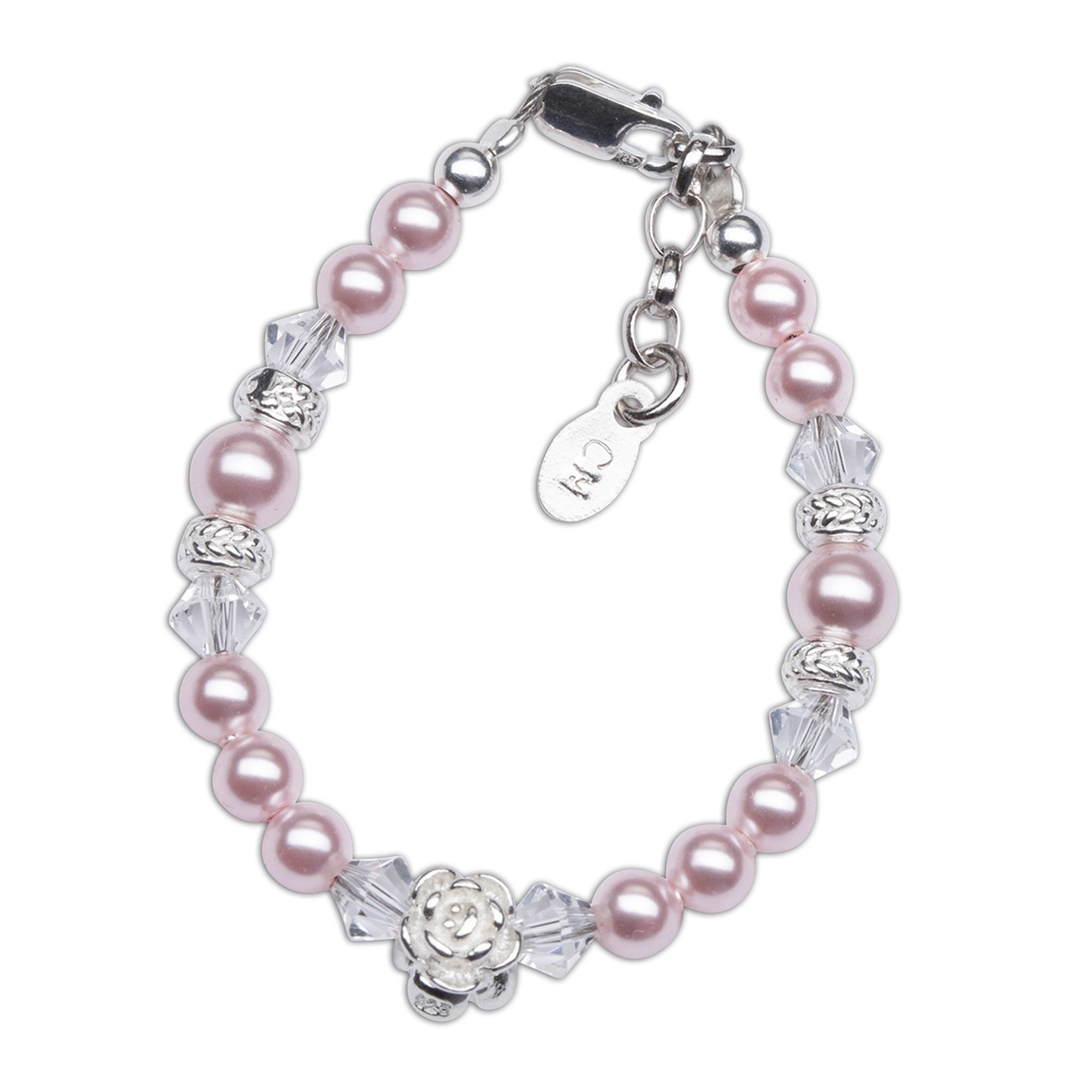 Rose Bracelet - Sterling Silver with Pink Pearl & Rose Charm