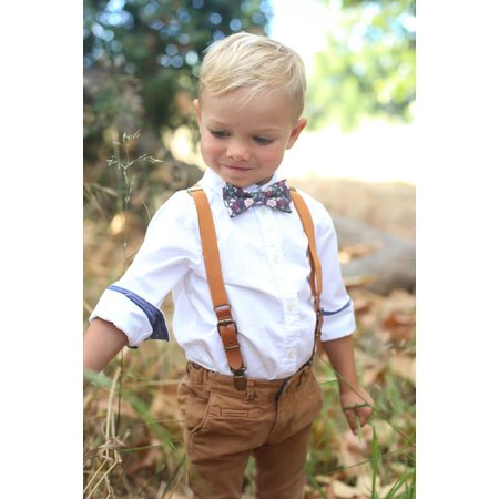 Wine Floral Bow Tie - Child