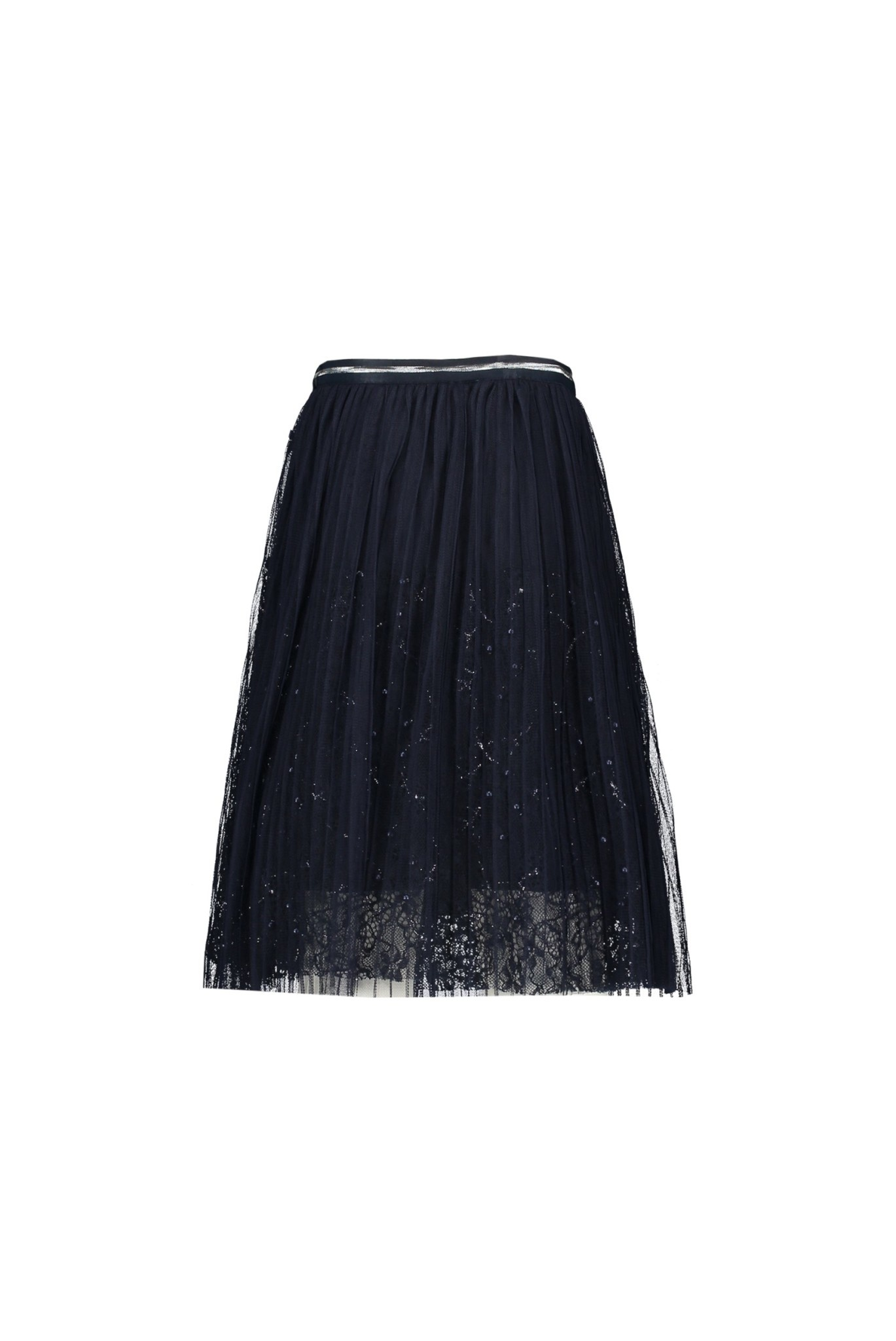 Maribel Long Skirt with Pearls - Navy
