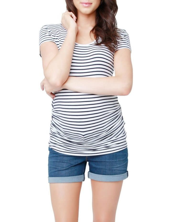Striped Ruched Tee