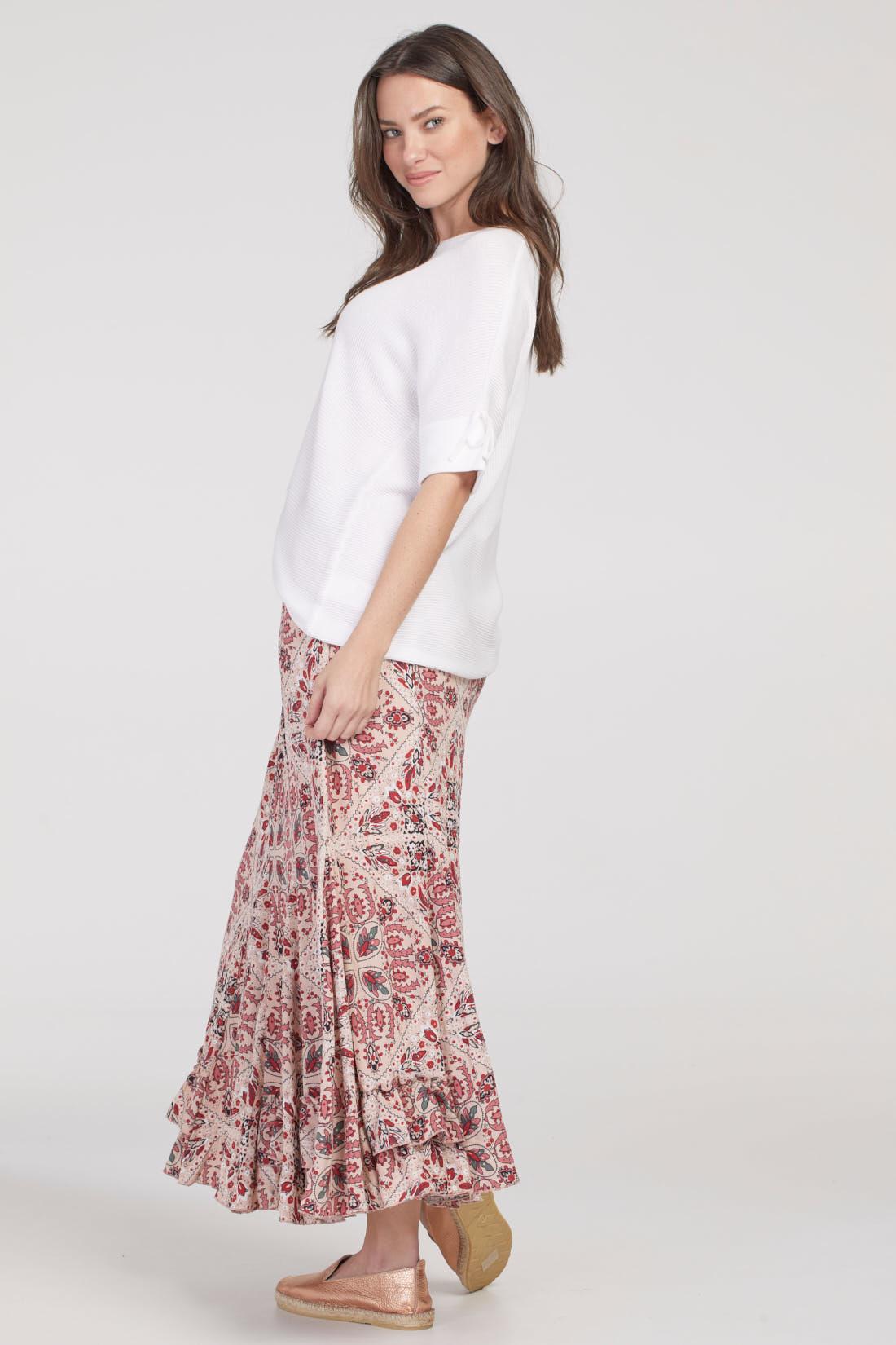 Print Chiffon Maxi Skirt