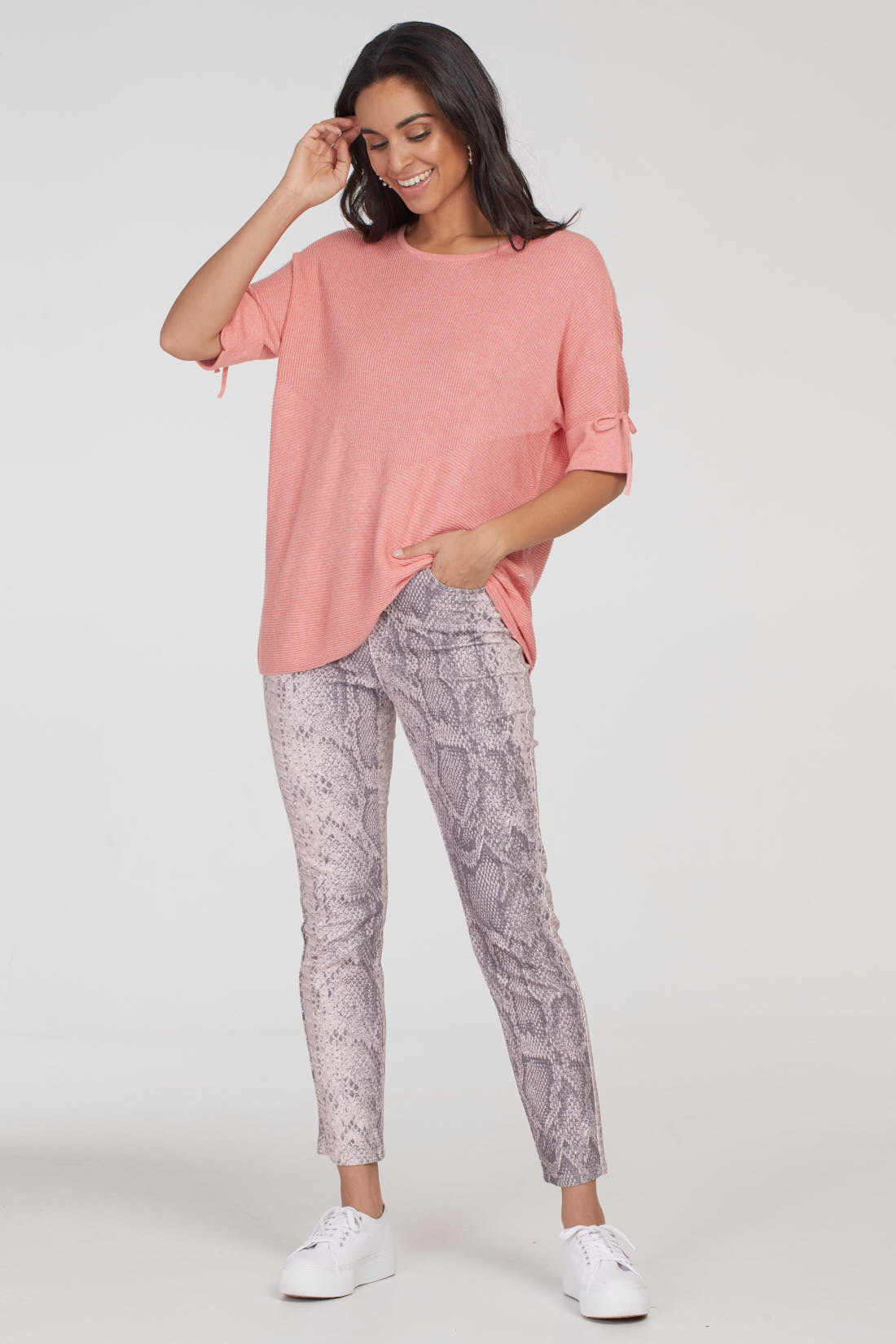 Pull-On Ankle Pant - Snake Print