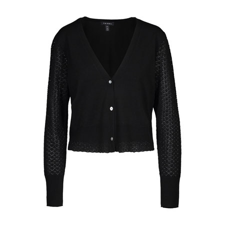 Black Cardi with Pointelle Sleeves