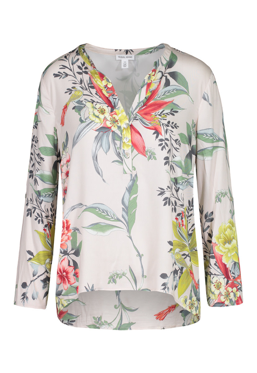 Floral Print Blouse with Roll-Up Sleeves