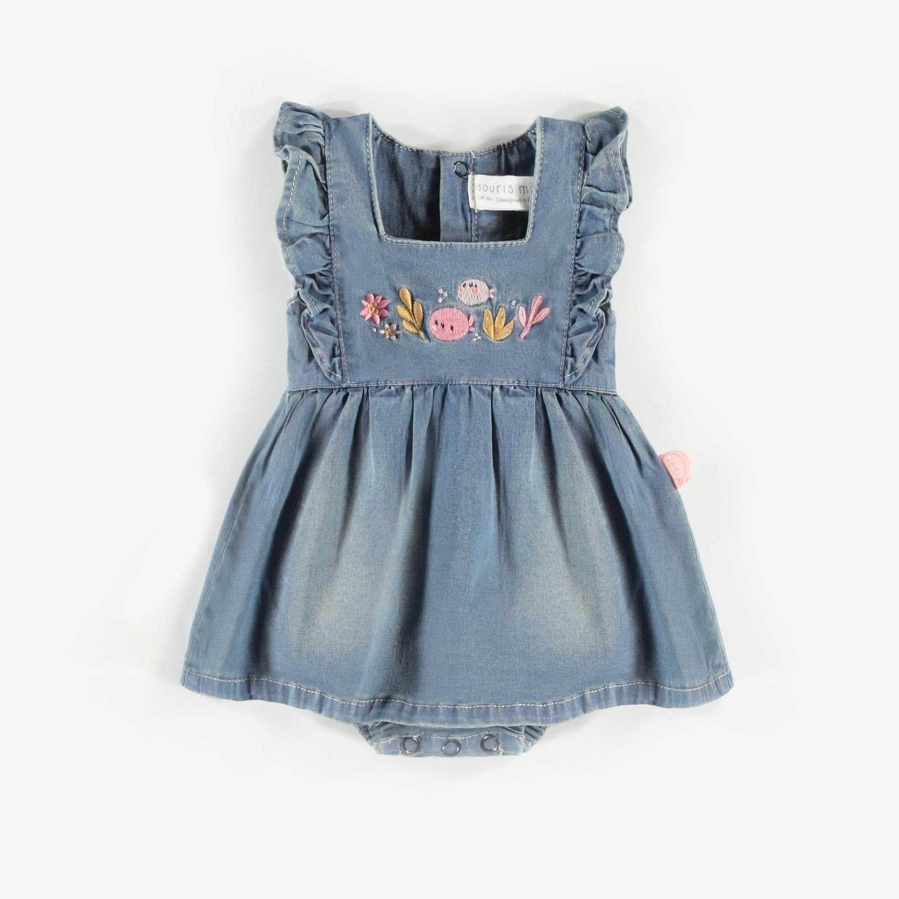 Denim Dress & Onesie with Leggings - 3pc Set