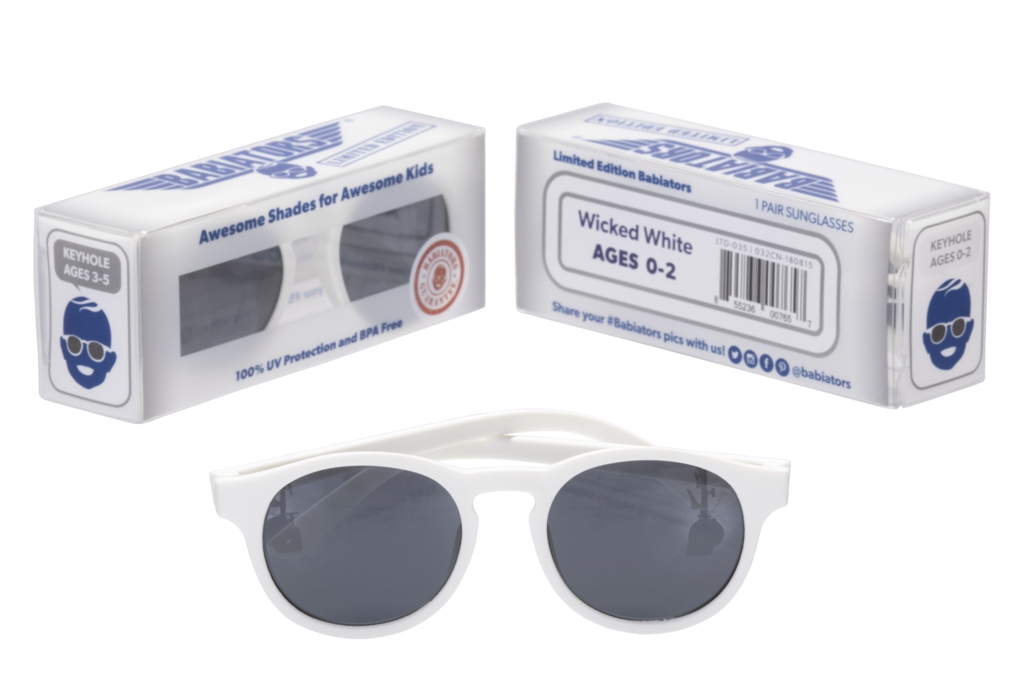 Keyhole Style Sunglasses - Wicked White