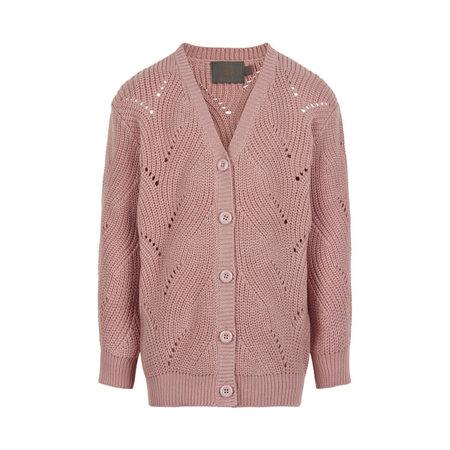 Cotton Cable Knit Cardigan - Rose Smoke